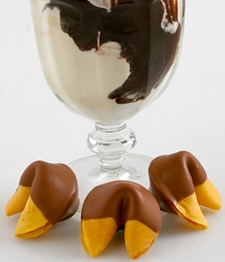 fortune cookies dipped in Belgian chocolate