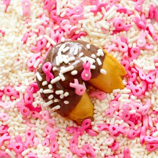 Fortune cookies for a cure we donate 10% of the proceeds to the Breast Cancer Research Fund.
