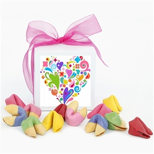 Valentine's Day Gift Box of Colored Fortune Cookies | Chocolate ...