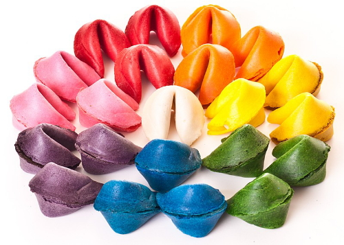 colored fortune cookies